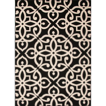 Indoor/Outdoor Damask Pattern Black/Taupe Polypropylene Area Rug (5.3x7.6)