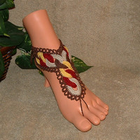 Crochet Fall Circle Chain, Barefoot Sandal, Footless, Bottomless, Friendship, Anklet, Shoes, Accessories, Jewelry