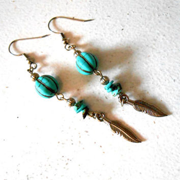 Turquoise and Silver Feather Dangle Earrings, Handmade, Native American Inspired, OOAK, Hippie, Boho, Gift for Her, Gemstone Jewelry