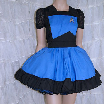 Blue StarFleet Insignia Pinafore Apron Costume Skirt Adult ALL Sizes - MTCoffinz