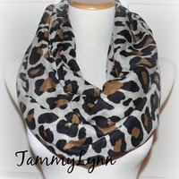 NEW!! Camel Leopard Print LONG Infinity Scarf Womens Accessories Tammy Lynns Creations