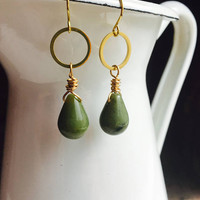 Jade and Brass Earrings, Dangle and Drop Earrings, Green Earrings, Golden Earrings, Etsy, Etsy Jewelry