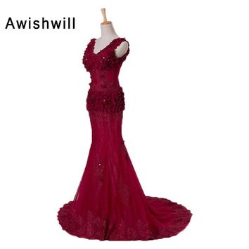 New Arrival 2018 Sexy Party Dress Illusion Design V-neck Flowers Applique Mermaid Dresses Long Burgundy Prom Dresses Transparent