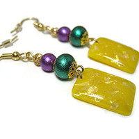 Drop Dangle Earrings Purple Green Yellow Sparkle Glitter Shimmer Rectangle Resin Gold Plated Hypoallergenic Spring Summer Fashion Jewelry