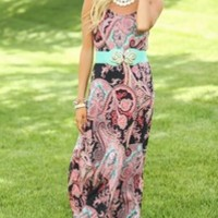 Whirled In Paisley Maxi Dress