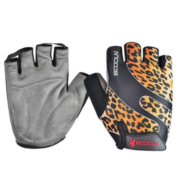 Half Finger Shockproof Breathable Outdoor MTB Road Bike Bicycle Cycling Sport Running Gloves leopard print S M L XL XXL
