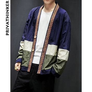 Sinicism Store Mens Coat Jacket Kimono Streetwear Windbreaker Jacket Cardigan Hrajuku Button Male Clothes 2018 Plus Size