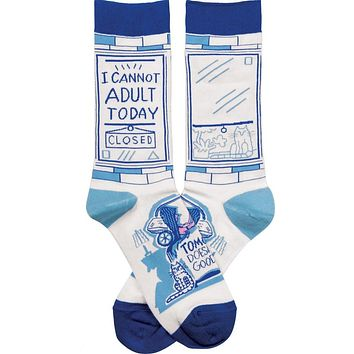 I Cannot Adult Today - Tomorrow Doesn't Look Good Either Funny Novelty Socks with Cool Design, Bold/Crazy/Unique/Quirky Specialty Dress Socks