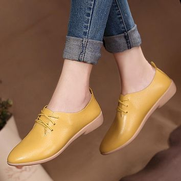 Women Casual Ballet Shoes Soft Genuine Leather Women's Loafers Slip On Woman Flats Shoe Flexible Peas Footwear Large Size 35-41