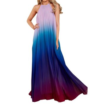 2018 Sexy Women Backless Maxi Dress Ombre Pleated Sleeveless Summer Chiffon Dress Halter Neck Long Boho Beach Dress