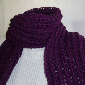 Purple Crochet Handmade Skinny Scarf, Acrylic Yarn with Ribbed Pattern