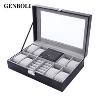 GENBOLI PU Leather Watch Box Jewlery Grids Display Tray Packaging Small Velvet Pouch Storage Holder Rack Organizer Case Casket