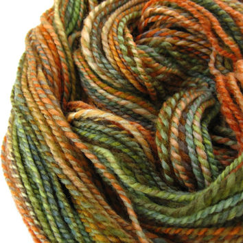 hand spun yarn, handspun yarn, hand dyed yarn, hand painted yarn, handpainted yarn, falkland wool, 2 ply, green olive orange pumpkin yarn