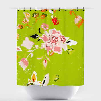 Lime Shabby Chic Floral Shower Curtain