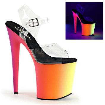 Pleaser Female 8 Inch Heel, 4 Inch Platform Ankle Strap Sandal With Neon MC Platform Bottom RBOW808UV