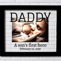 Daddy Floating Picture Frame - A son's first hero - Personalized custom birth date Father's Day Gift