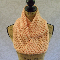 Ready To Ship Infinity Scarf Crochet Knit Winter Peach Pastel Women's Accessories Eternity Fall Winter
