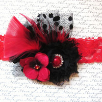 NEW:  Black and Red Feathered Chiffon Hair Accessory, Newborn Headband, Baby Headband, Girl Headband, Womans Hair Accessory, Brooch,