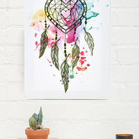 Paint-Splattered Dreamcatcher Canvas