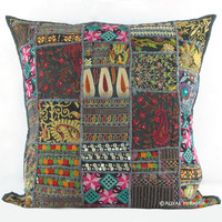 "20"" Black Vintage Multicolor Patchwork Throw Cushion Pillow Case Sham"