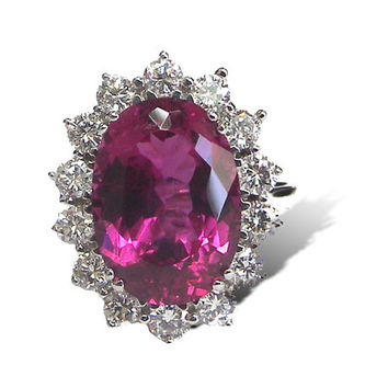 Rubellite Ring, Rubellite Tourmaline, 14K White Gold, surrounded with F VS1 Diamonds, Gemstone, 60th birthday, for Her, October Birthstone
