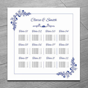 Wedding Seating Chart Template | Printable Wedding Seating Poster |  Editable MS Word Template