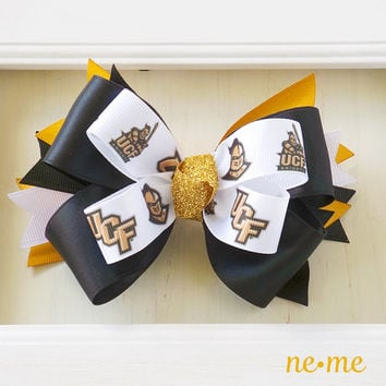 UCF Bow, University of Central Florida Hair Bow, Gold and Black Cheer Hair Bow, Knights Hair Accessory