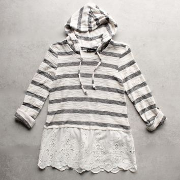 striped vintage lace hem womens hoodie sweater top