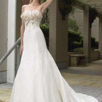 Trumpet/Mermaid Scalloped Neck Chapel Train Satin Wedding Dress With Beading Appliques Lace Sequins Bow(s)