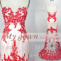 2014 Lace Prom Dress,Strapless Hi-low Gown Rich Beaded Lace Applique Prom Dress, Cocktail Dress,Dresses,Wedding Dress,Formal Dresses