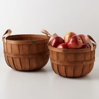 Hand-Braided Apple Baskets by Anthropologie Brown One Size Kitchen
