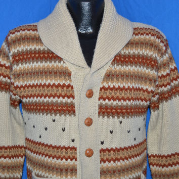 70s Shawl Neck Western Cardigan Sweater Medium