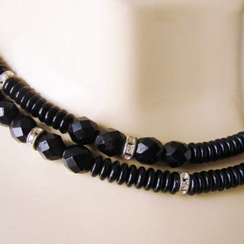 Vintage Black Faceted Glass Bead Rhinestone Necklace / Jewelry / 30 Inces Long / Jewelry / Jewellery