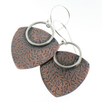 Handmade Copper and Sterling Silver Earrings