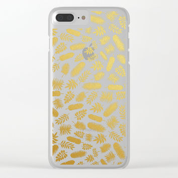 el dorado // gold leaf pattern Clear iPhone Case by Camila Quintana S