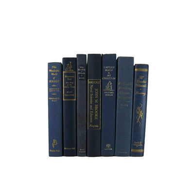 Blue Books for Interior Design, Vintage Books, Decorative Books, Farmhouse Decor, Wedding Decor, Gift For Book Lover,  Home Decor