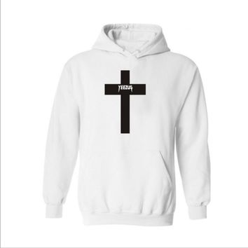 Autumn and winter new yeezus letter hood plus velvet sweater Cross