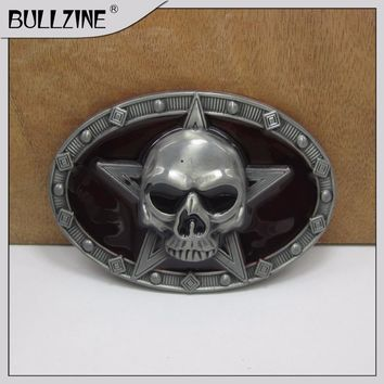 Skull belt buckle with pewter finish and red enamel suitable for 4cm width snap on belt
