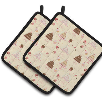 Cakes and Cupcakes Pair of Pot Holders BB7310PTHD