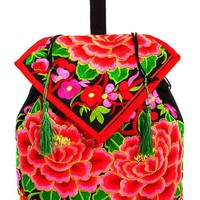 Embroidered Bohemian Rose Backpack