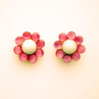 flower post bubble earrings, pink and white beaded