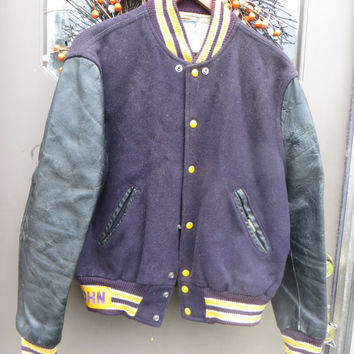 1950   hipster   DISTRESSED   Old school Letterman varsity  purple wool  and black leather jacket by Champion sporting goods  sz 42
