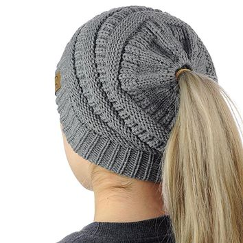 Womens Ponytail Cap High Bun Ponytail Beanie Hat Warm Beanie Knitted Hat Messy Solid Soft Acrylic New Lady Girl Winter Warmer