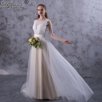 Mryarce Beach Wedding Dresses Illusion Neckline Lace Appliques Flowy Tulle Summer Wedding Dress Bridal Gowns With Buttons