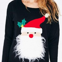 New Black Patchwork Round Neck Long Sleeve Santa Claus Cute Pullover Sweater