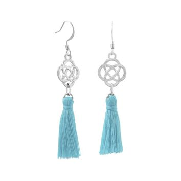 Silver Tone Fashion Earrings with Aqua Threaded Tassels