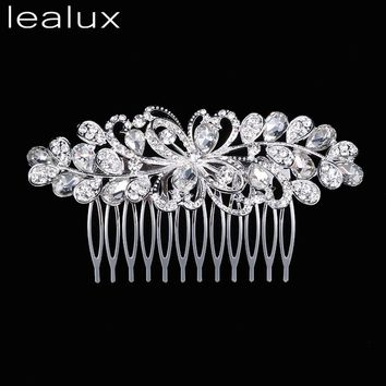 Lealux Leaf Crystal Bridal Wedding Jewelry Hair Accessories Hair Combs Crown Tiara Hair accessories for wedding