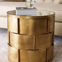 Woven Antiqued Gold-Leafing Side Table - Horchow