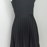 Sleeveless 60's Glam Pin Up Little Black Dress with Pleated Skirt ILGWU Size M