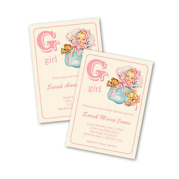 Digital DIY Vintage Baby Girl Shower Invitation / Baby Announcement / Baby Card / editable PDF / add your own text / personalize it yourself